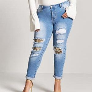 Distressed boyfriend jeans with sequin detail